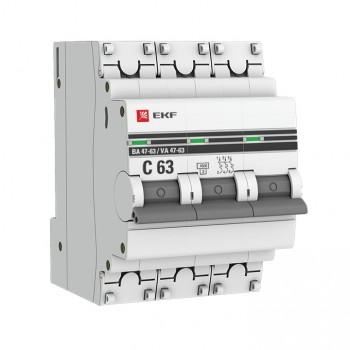 Автоматический выключатель ВА 47 - 63 3P (C) 4,5kA EKF PROxima
