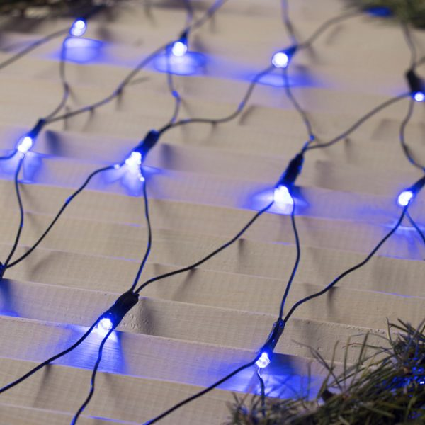 Гирлянда СЕТЬ светодиодная 1.6 Х 1.6 м, LED-144-220V, 8 режимов, свечение синеее