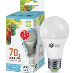 Лампа СД LED-A60-STD 7ВТ 230В Е27 4000К 630ЛМ ASD