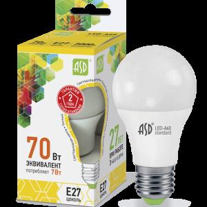 Светодиодные лампы СД LED-A60-STD 7ВТ 230В Е27 3000К 630ЛМ ASD
