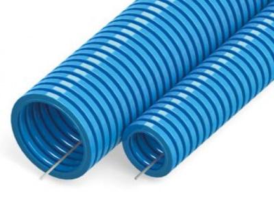 Труба гофрированная ПП лёгкая 350 Н безгалогенная (HF) синяя с/з