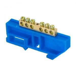"""Шина нулевая """"N"""" с изолятором синим на DIN рейку (6х9мм) EKF"""